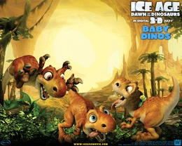 3d обои Ледниковый период 3, Ice age down of the dinosaurs in digital 3d july 1 SCRATTE Динозавры играют друг с другом  динозавры