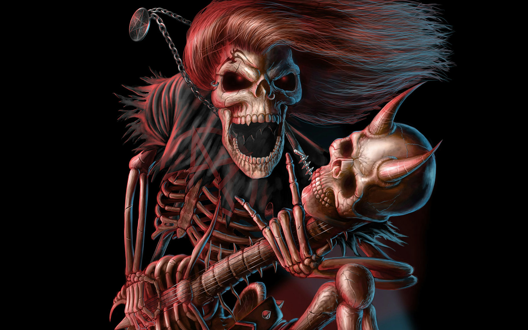 wallpaper skeleton playing a guitar from the human skeleton gothic