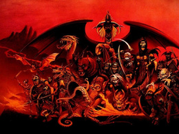 wallpaper army of monsters: zombies, monsters, a dragon, octopus, horse toothed dragons