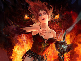 Pretty wallpaper in a corset with a stick and a skull behind the eyes fire-breathing dragon dragons