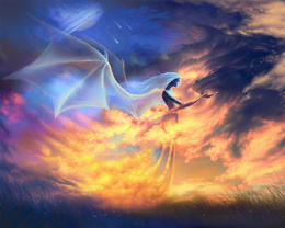 wallpaper ghost girl with dragon wings stroking fiery dragon dragons