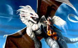 Wallpaper White-winged dragon in a battle with the dragon angel