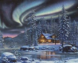 wallpaper house with large lighted windows stands in a snowy forest in the sky above him walk the Northern Lights Northern Lights Smoke
