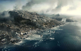 Movie wallpaper 2012 plate with the city drowning in an ocean of smoke