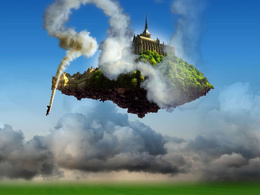 wallpaper house, flying on the island of smoke