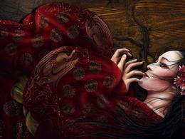 Chinese wallpaper girl desperately sad