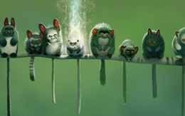 Wallpaper Cute monsters are sitting on a thin twig 1920x1200