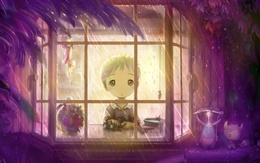 wallpaper Sad boy looks at the rain clear up a window 1920x1200