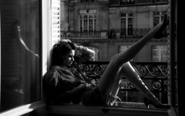 wallpaper girl sitting on the windowsill pulled up his legs sad