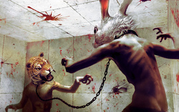 Hot wallpaper fight two monsters, half-human, half-animal, a rabbit's head, the other a tiger, symbol of the past and current years. 1920x1200