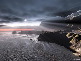 Wallpaper Cumrachny world ocean, rocks, sun through the clouds ... sad
