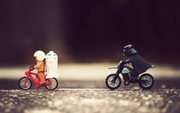 Men wallpaper from Lego, Darth Vader on a motorcycle chase movie