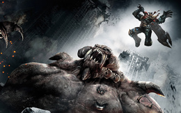 3d Bataille wallpaper énormes monstres transformé la ville en ruines 1920x1200