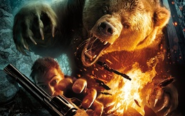 Wallpaper Huge grizzly bear wants to eat a man who can not reach a revolver 1920x1200