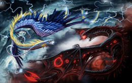Battle of the wallpaper of blue and red dragons dragons
