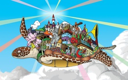 wallpaper on the turtle, flying above the clouds, laden mass of interesting things: the city with towers, train, frogs, wolves, dragon, robot, and more (Windows 7) dragons