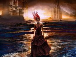 Das Mädchen auf dem Hintergrundbild Schlösser, die im Wasser von 1024x768 Stand