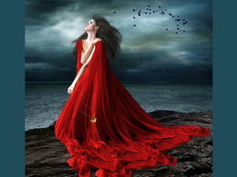 wallpaper Dame im roten Kleid 1024x768