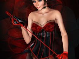 wallpaper Mädchen in Handschuhe mit roten Peitsche 1024x768