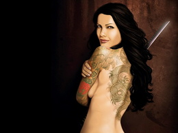 wallpaper brunette with a tattoo of a dragon and the sword of 1024x768