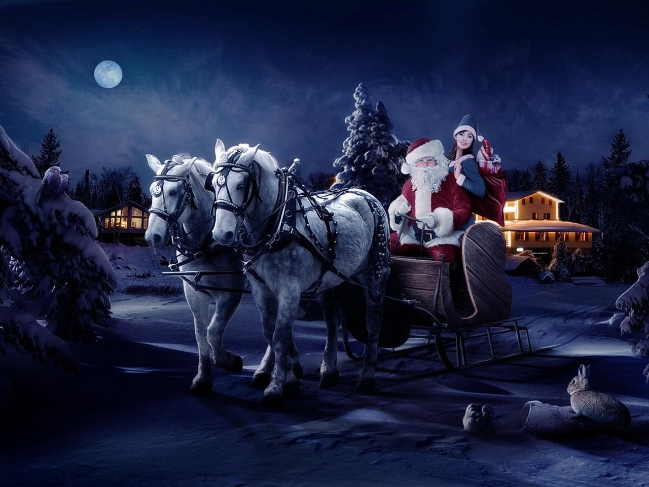 3d шпалери Дід Мороз і снігуронька їдуть на санях розвозити подарунки 1280х960, Шпалери hq