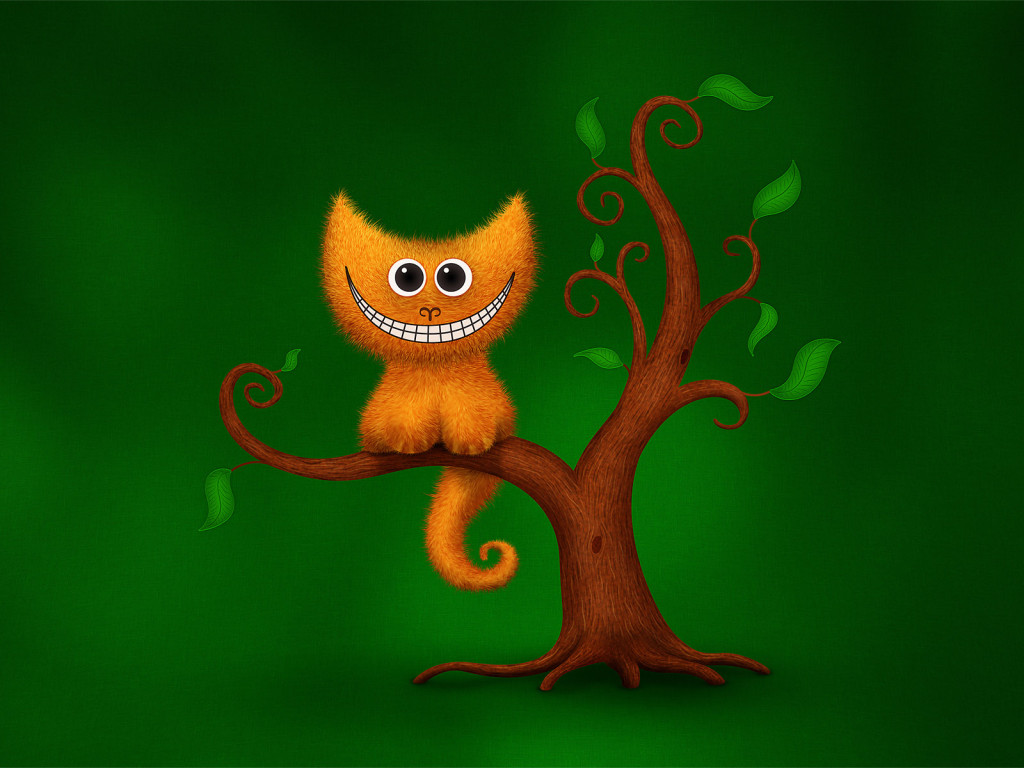 Кот, улыбка, юмор, чеширский кот, дерево, зеленый обои, фото, картинки