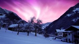Das Dorf in den Ausläufern der Tapete. In den Himmel zu einem schönen aurora 1920x1080