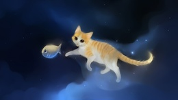 Painted wallpaper cat running for fish, other than children's wallpapers 1920x1080