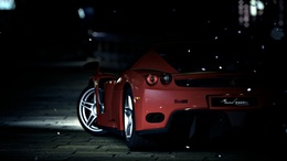 Wallpaper Red Ferrari at night, rear view 1920x1080