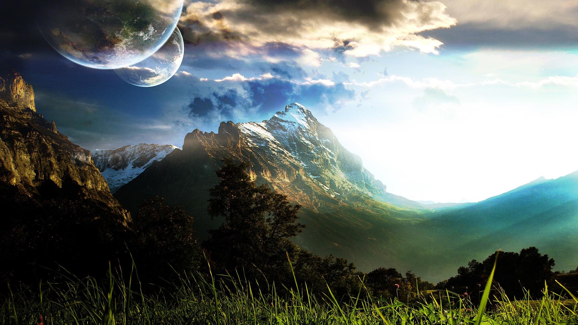 3d обої природа з красивими горами і