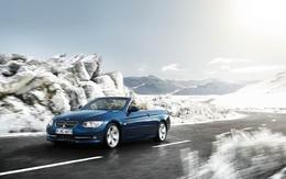3d Le bleu de voiture wallpaper Cabrio sur une fille route de montagne Bmw