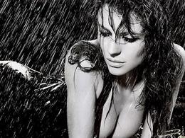 3d Papier peint Jolie fille sous la pluie