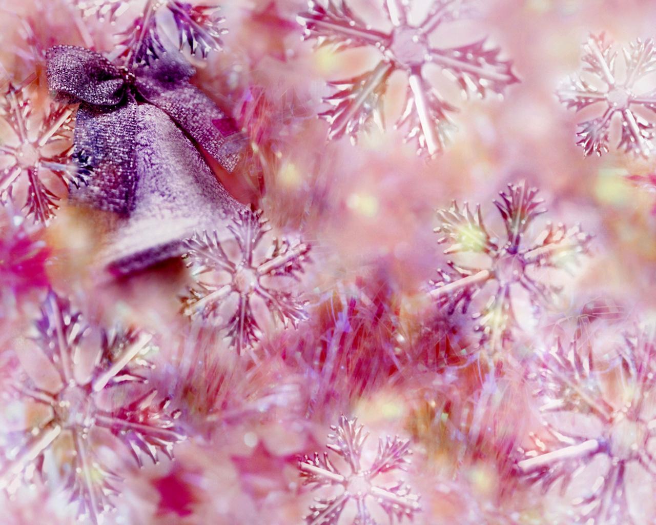 3d шпалери дзвіночок і рожеві сніжинки