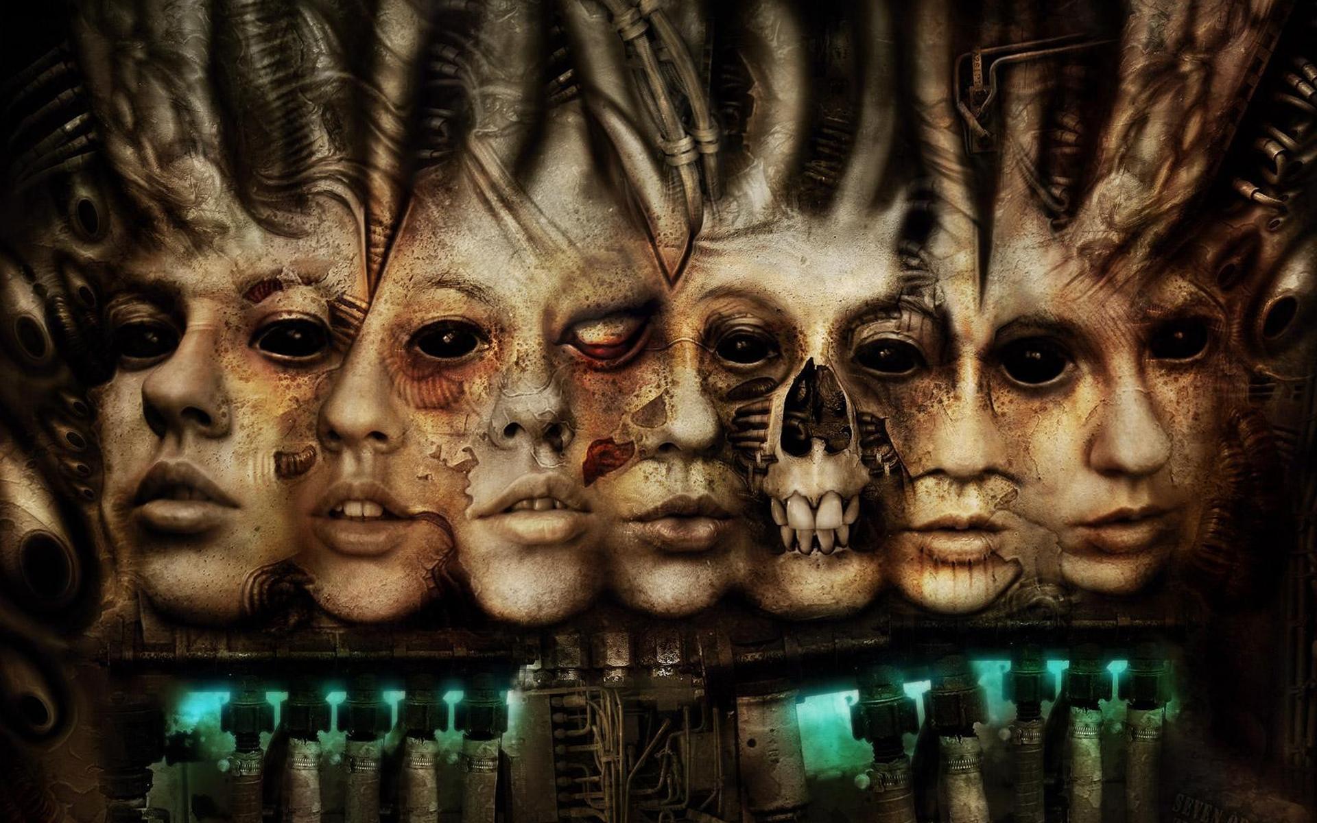 Wallpaper scary schädel gesicht cyborgs schädel