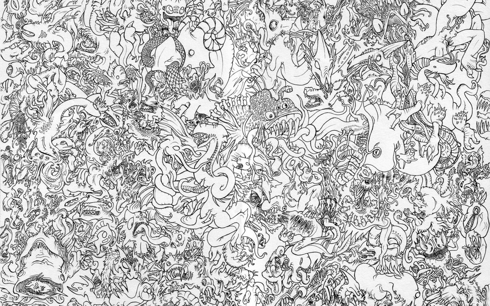 Line Drawing Wallpaper : D обои Рисунок персонажей китайской мифологии Драконы