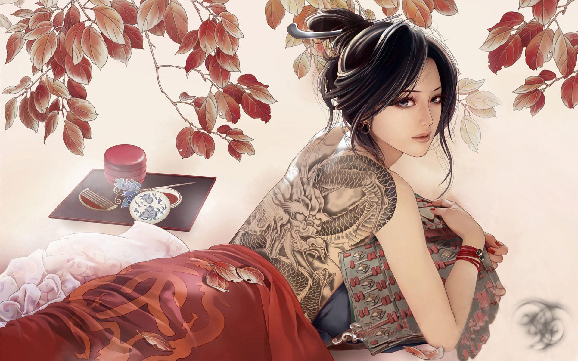 Японка со змеей 1 фотография