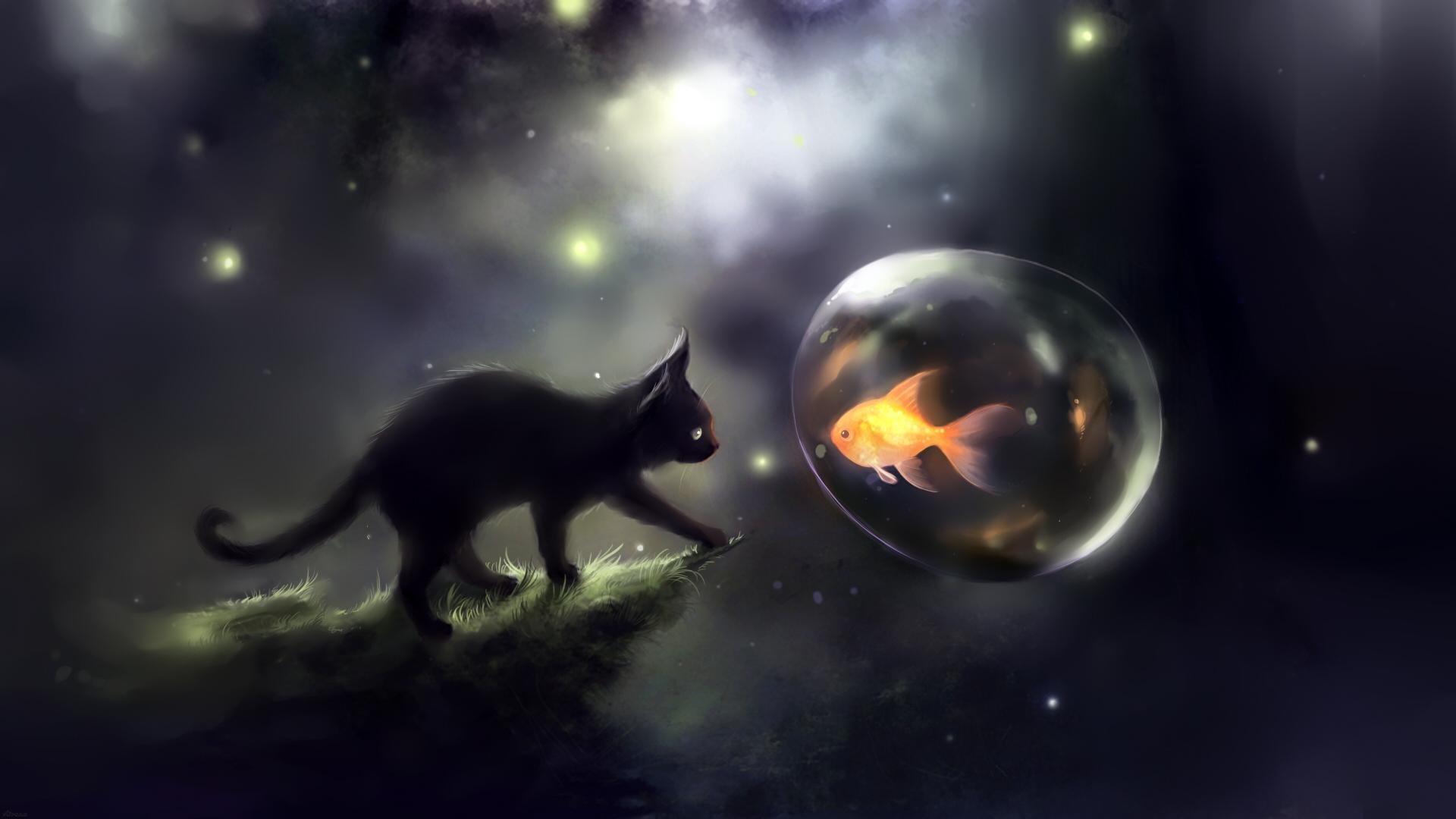 3d обои чёрный котик стоит на скале и