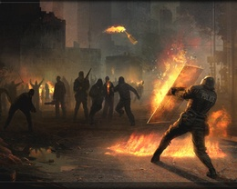 Police wallpaper holding a shield, holding back the onslaught of an enraged and armed mob smoke