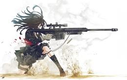 wallpaper girl with a rifle Barrett M-107 smoke