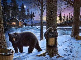 Bear with cubs wallpaper tub empties the water with the juice of trees