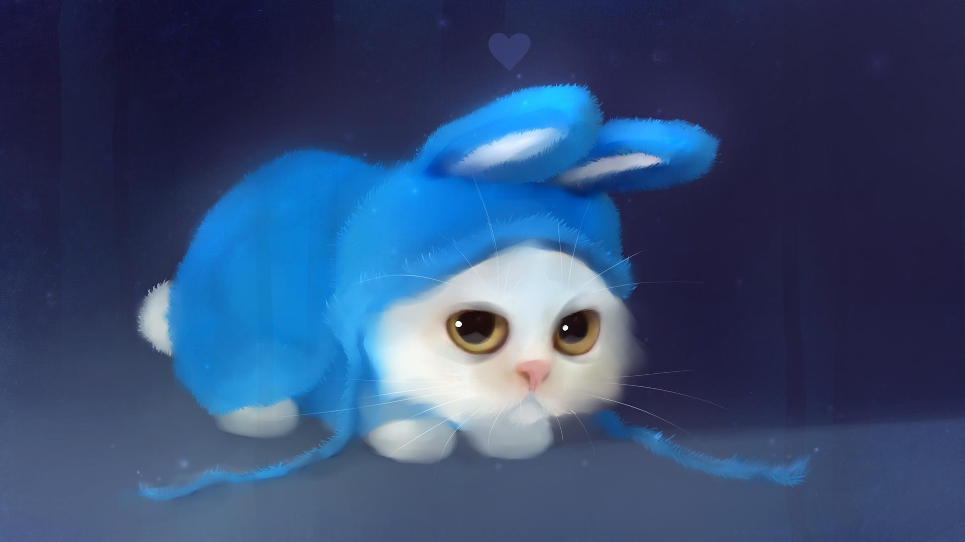 Обои белый пушистый котенок в голубой