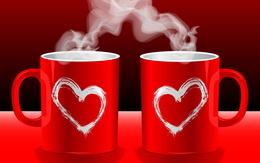 Two red wallpaper cup of coffee with steam and smoke hearts