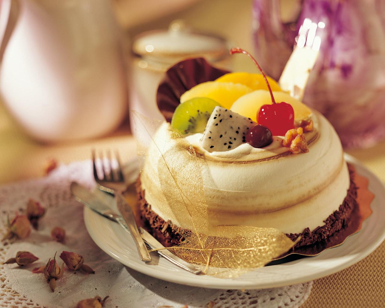 3d обои красивое фруктовое пирожное
