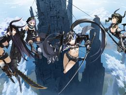 3d обои Девушки из альтернативного мира аниме Black Rock Shooter / Стрелок с Чёрной скалы в небе возле замка  аниме