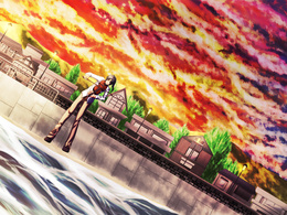 3d обои Парень играет на скрипке, стоя у моря, на закате дня  аниме