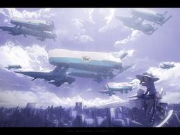 3d обои Девушка на воздушном мотоцикле фирмы Yamaha парит над городом (The Machine Planet II)  аниме