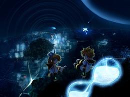3d обои Вокалоиды Кагамине Лен и Рин ночью сидят высоко в небе над городом  аниме