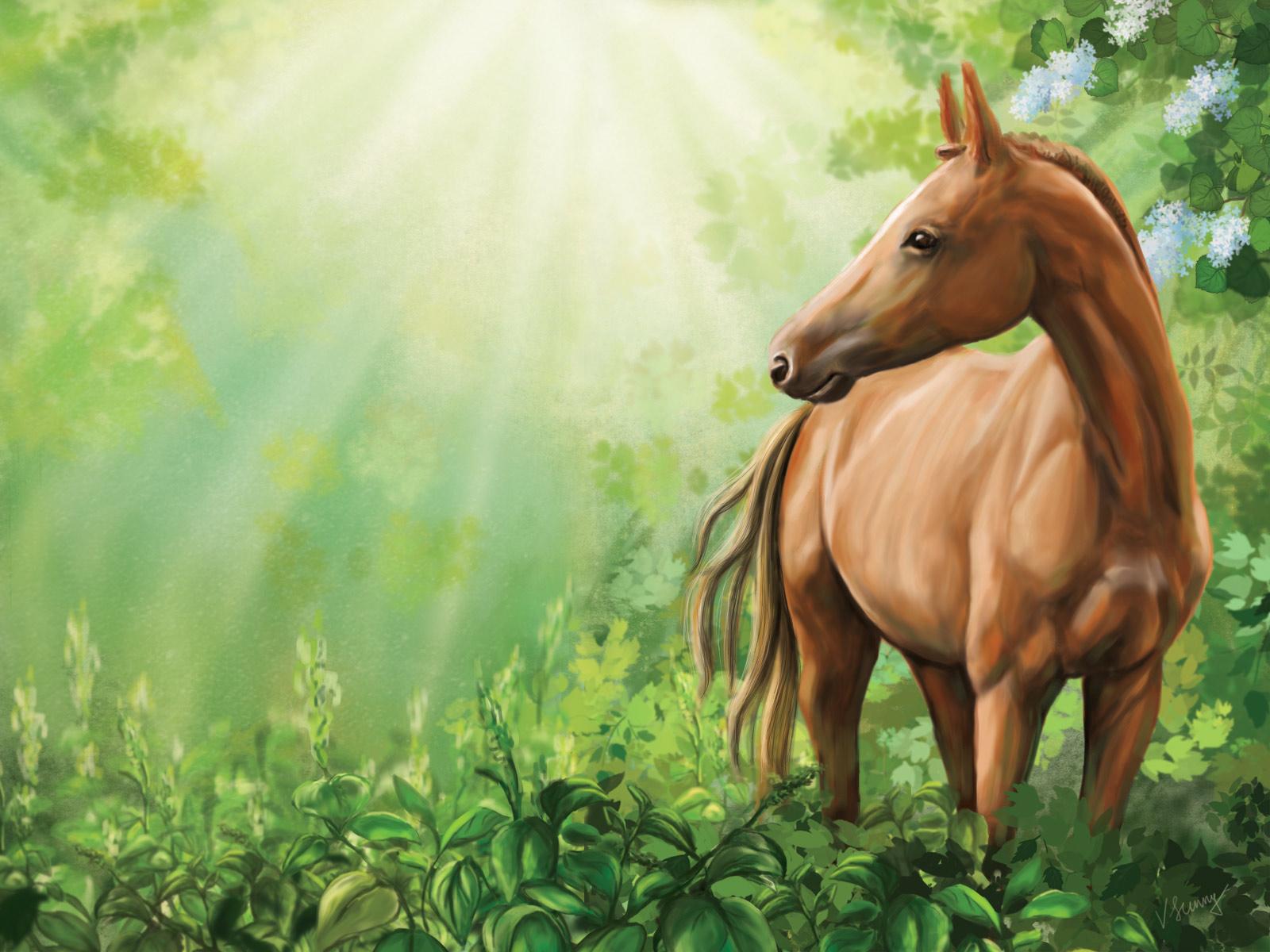 3d шпалери молодий кінь пасеться в лісі