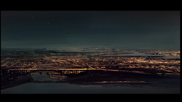Wallpaper City at night. Top view of water