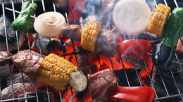 wallpaper skewer with vegetables grilled: corn, onion, sweet pepper smoke